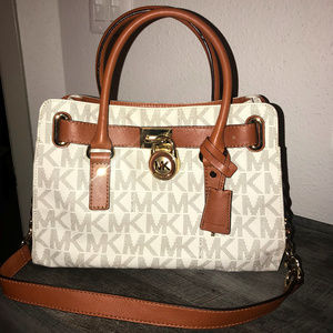 Michael Kors Hamilton Bag - Tan Monogram Print